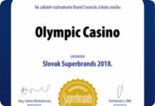 OLYMPIC CASINO ZÍSKALO PRESTÍŽNE OCENENIE SLOVAK SUPERBRANDS 2018