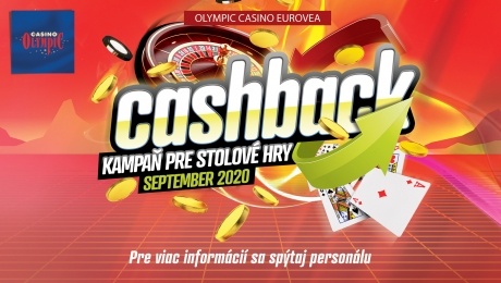 CASHBACK V OLYMPIC CASINO BRATISLAVA, EUROVEA